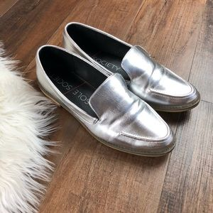 Sole Society HIPP Metallic Silver Loafers
